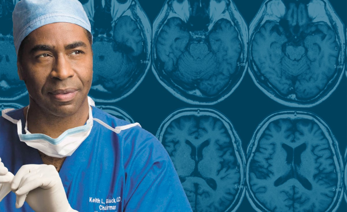 Image of Dr. Keith Black in scrubs, set against a background of brain scans.