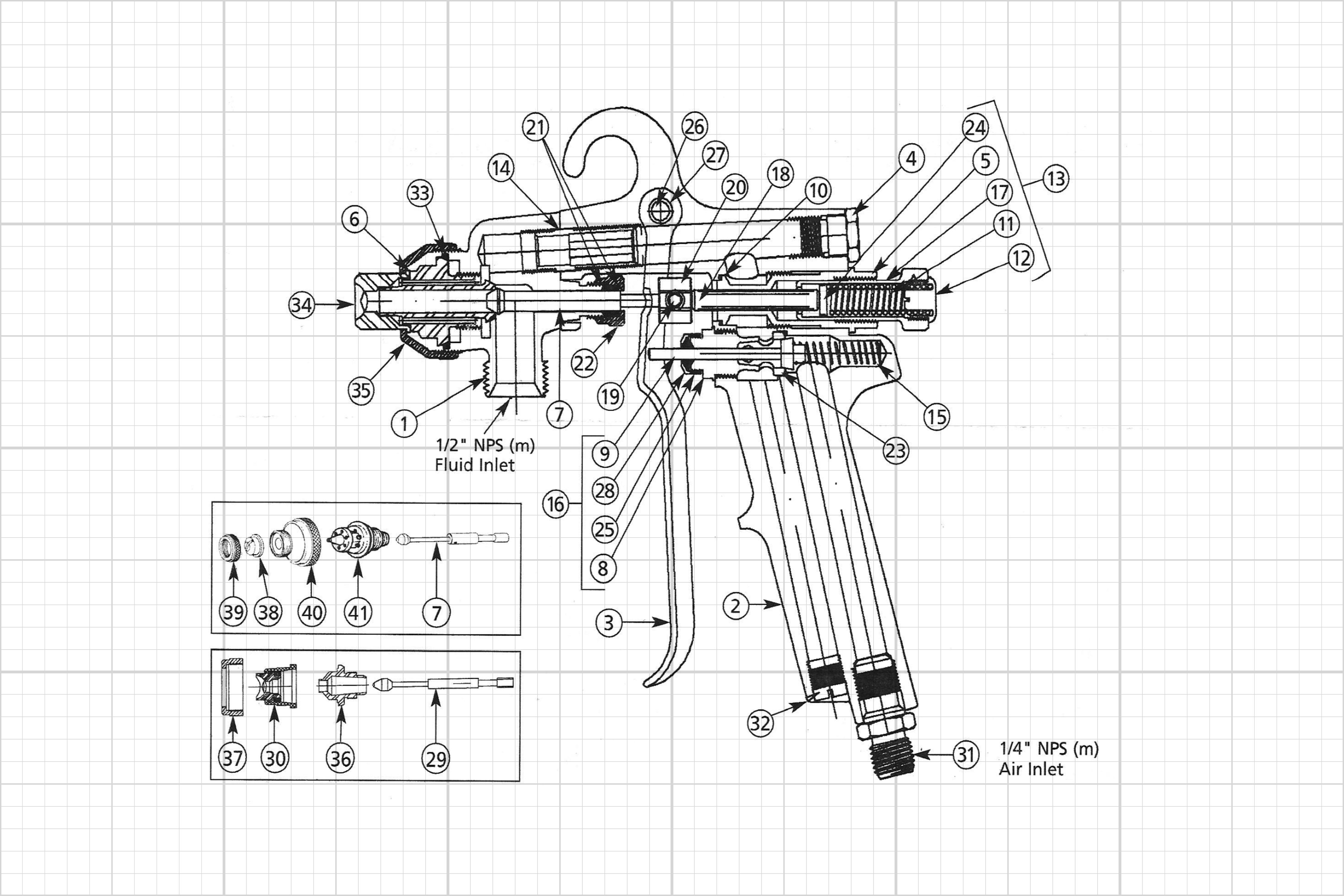 Drawing for Binks Spray Gun