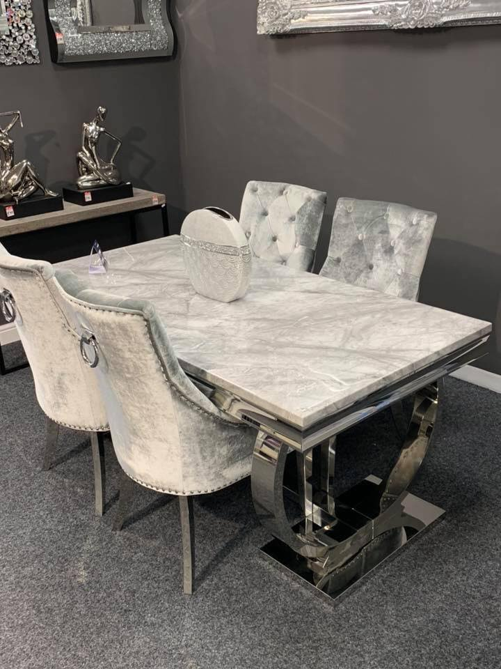 Ariana Grey Marble Dining Table With 4 Knocker Chairs ...