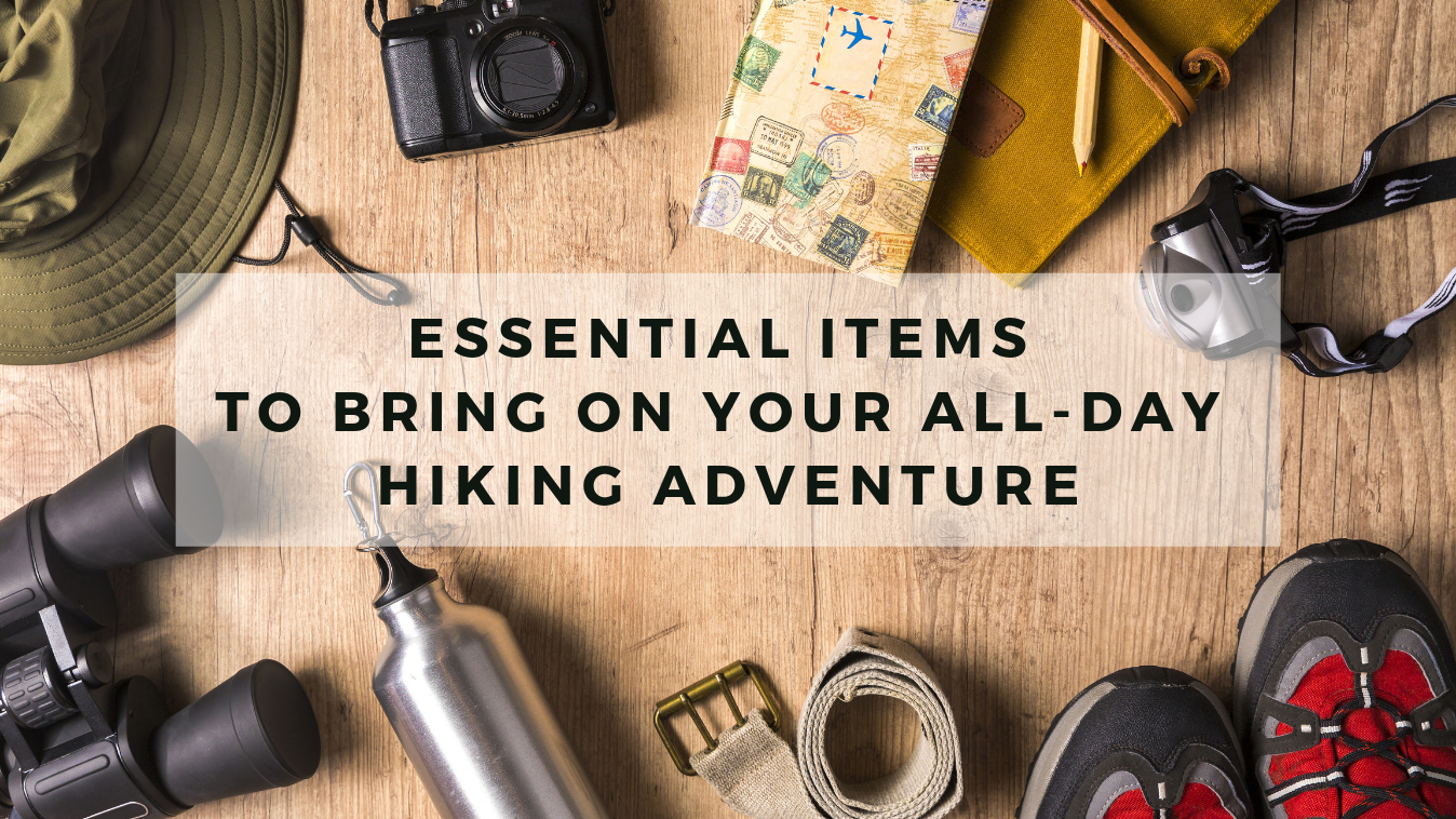 essential items to bring on hiking adventure graphic
