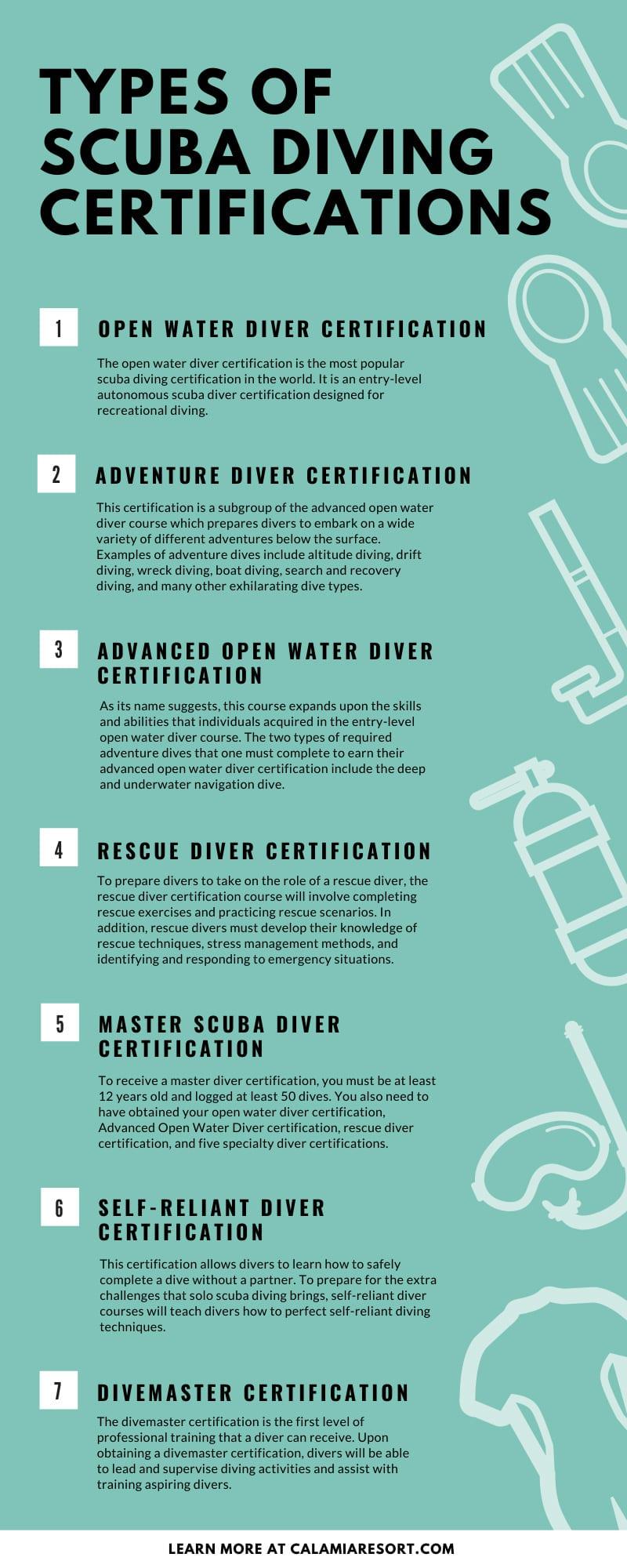 diving scuba types certifications dive
