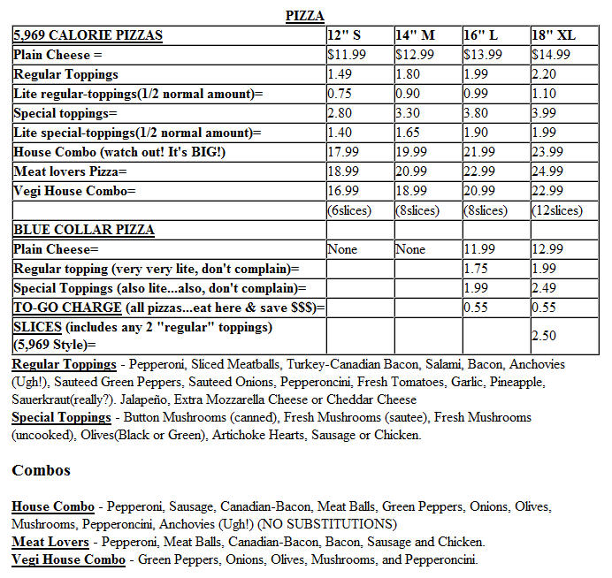 Joe Peeps Pizza Menu