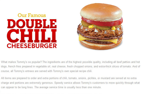 Tommys Double Cheeseburger Info