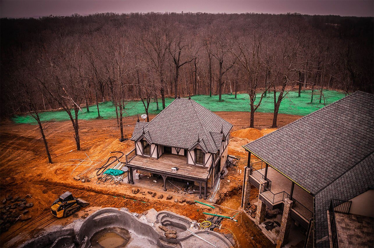 Oklahoma Residential Jobsite-March-2019-Aerial shot including house of progress Semper Fi Hydroseed made