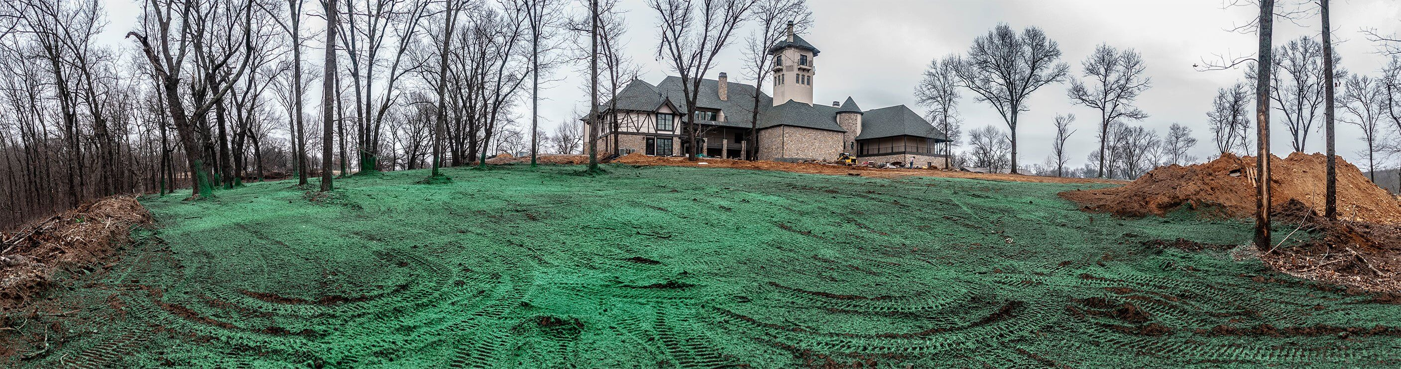 Oklahoma Residential Jobsite-March-2019-Panoramic view of property hydroseeded by Semper Fi Hydroseed