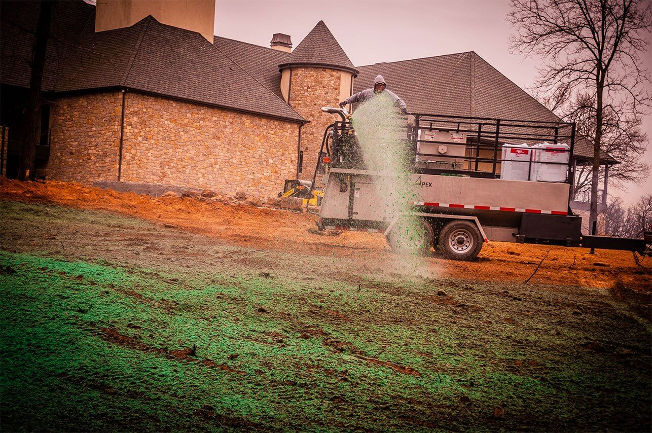 Oklahoma Residential Jobsite-March-2019-Semper Fi Hydroseed applying hydroseed from trailer