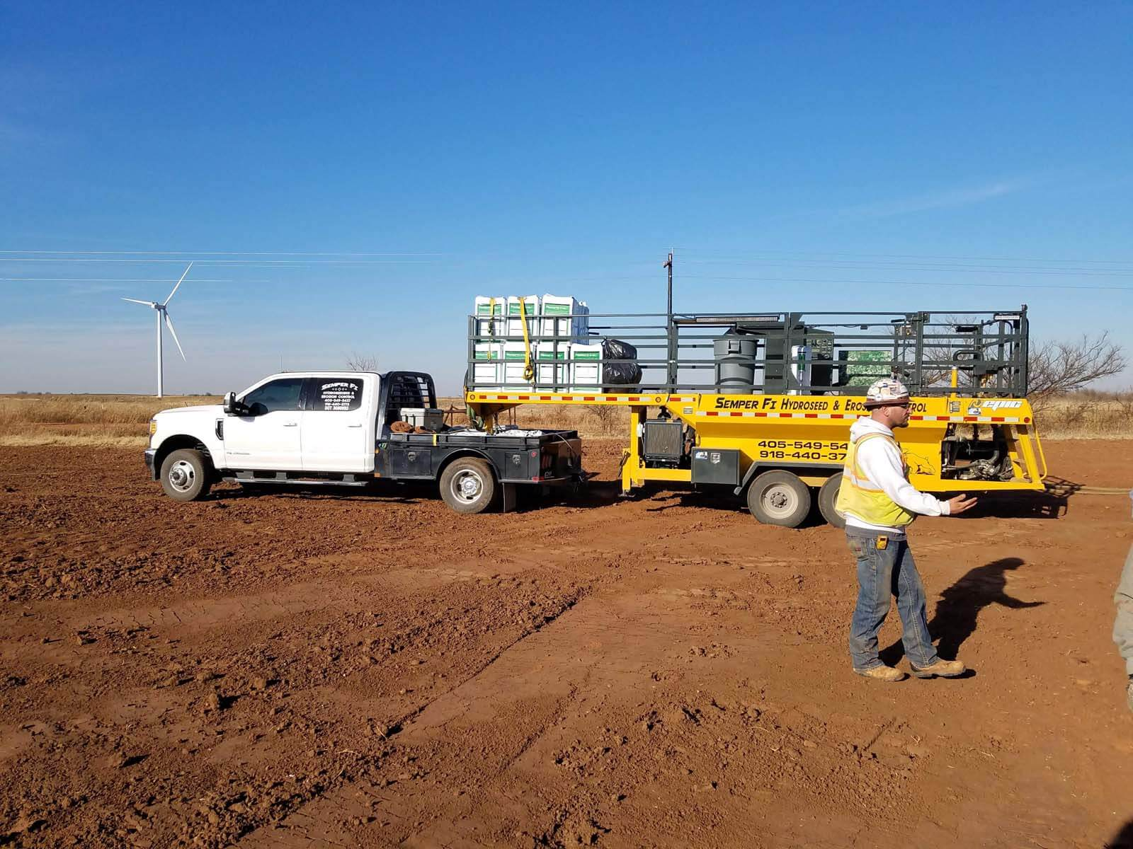 Semper Fi Hydroseed preparing to apply hydroseed at a wind farm.