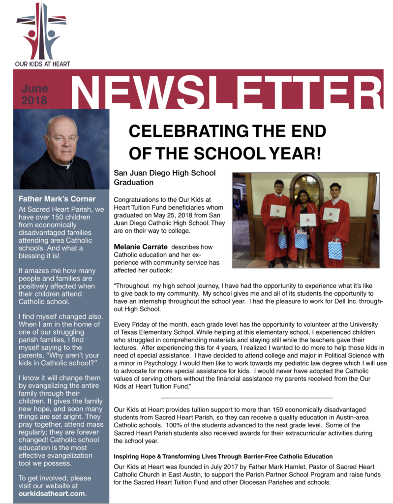 Our Kids at Heart June 2018 Newsletter