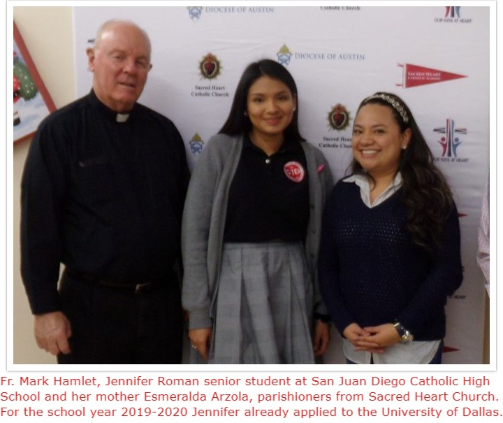 Father Mark Hamlet and Jennifer Roman, who has already applied to UD for 2019-2020.