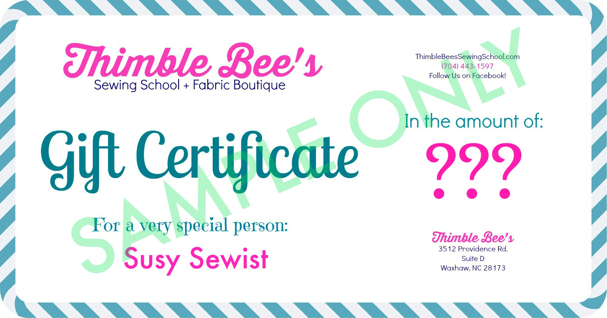 Gift Certificate Sample Only