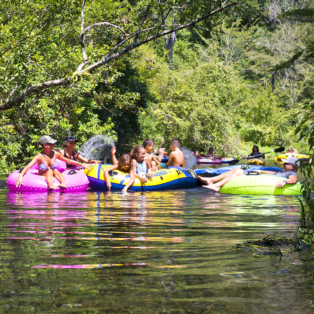 Children enjoying tubing down Ichetucknee Springs
