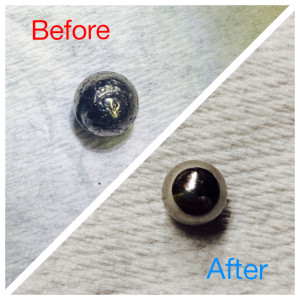 Abrasive cutting effluents create a very fine dust, which tends to coat everything on or near the machine. Over time, this dust can result in ball screw assembly wear. Before: Worn ball bearing removed from CNC machine experiencing cut issues.  After: Replacement ball bearings restore cut accuracy.