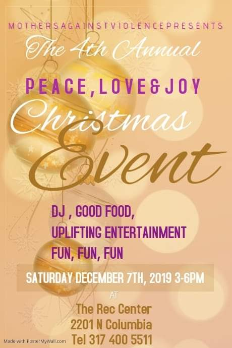 Join us for our 4th Annual Peace, Love & Joy Christmas Event on Saturday December 7th, 2019 3-6 PM