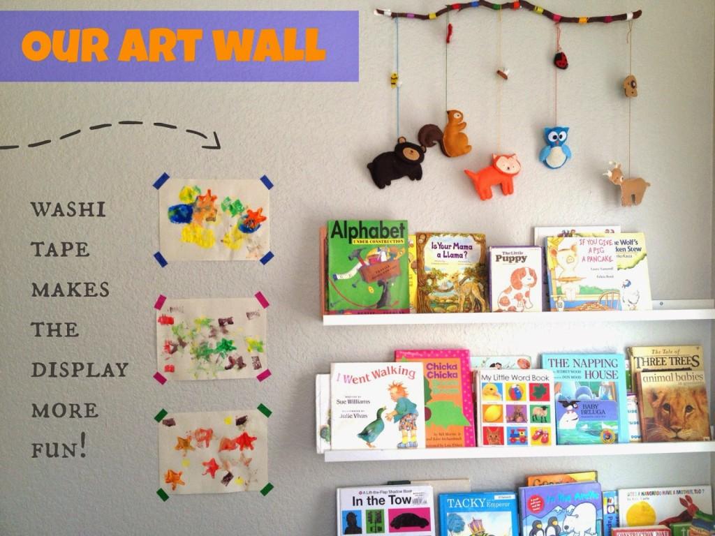Kids art wall with Washi Tape