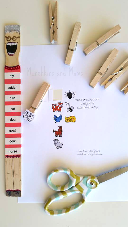 "Craft and literacy activity for preschoolers going along with the book ""There was an Old Lady who Swallowed a Fly""!"