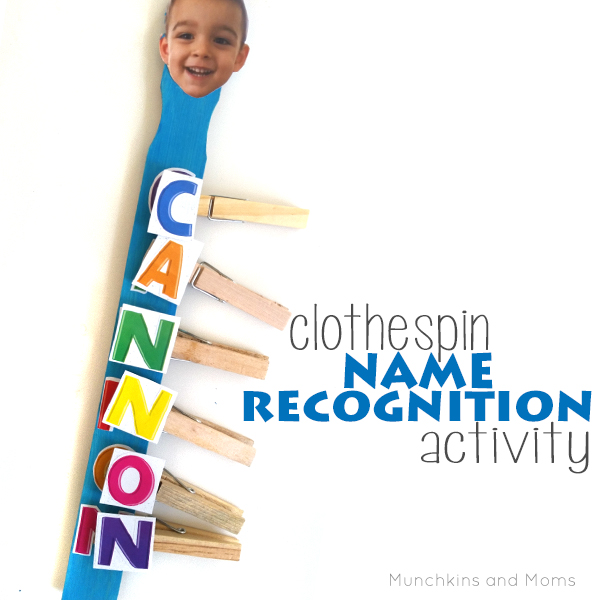 Clothespin name recognition activity