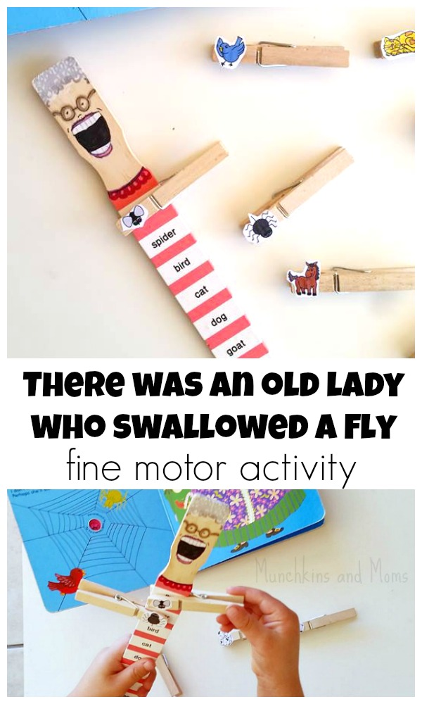 "Fine motor and story retelling activit for ""Thre Was an Old Lady Who Swallowed a Fly"" LOVE this!"