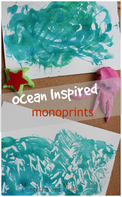 Ocean inspired monoprints are a fun and easy art project for preschoolers!