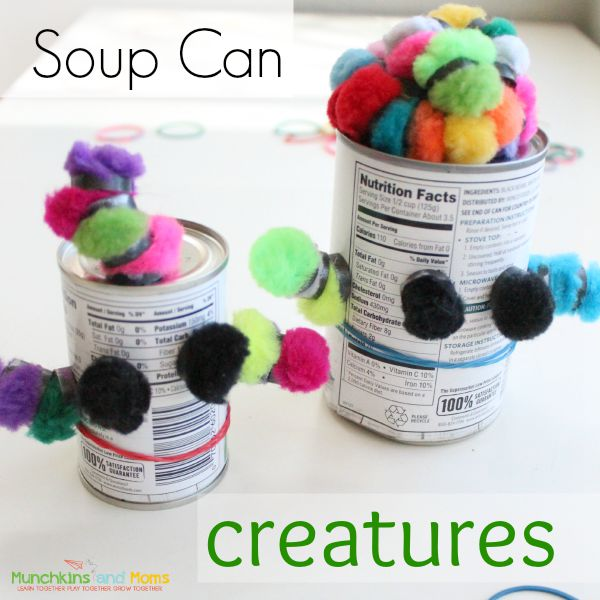 Make silly creature creations out of soup cans (and a few other supplies you alrady have lying around)! Makes a great toddler activity while you cook dinner!