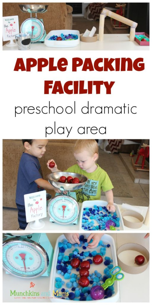 Create a fun Apple Packing Fcility for preschoolers to use in a fall dramatic play scene!