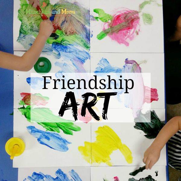 Make this cooperative Friendship Art with preschoolers!