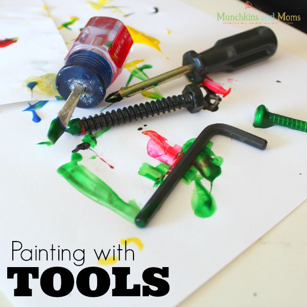 Painting with tools- a fun process art activity for preschoolers and toddlers!