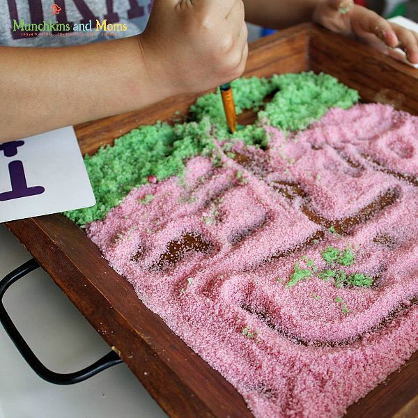 salt tray for practicing letter formation