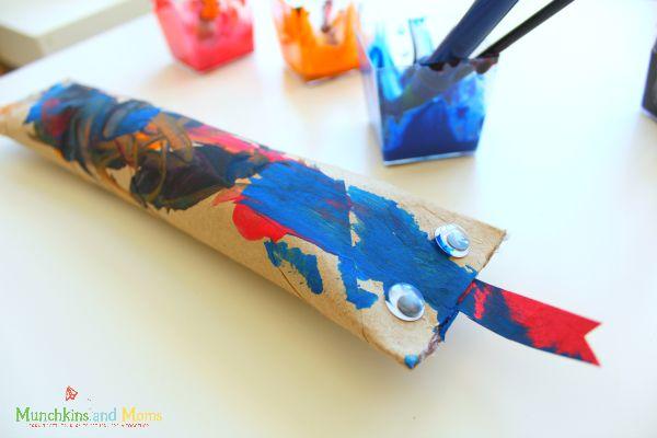 Make cute paper towel tube snakes!