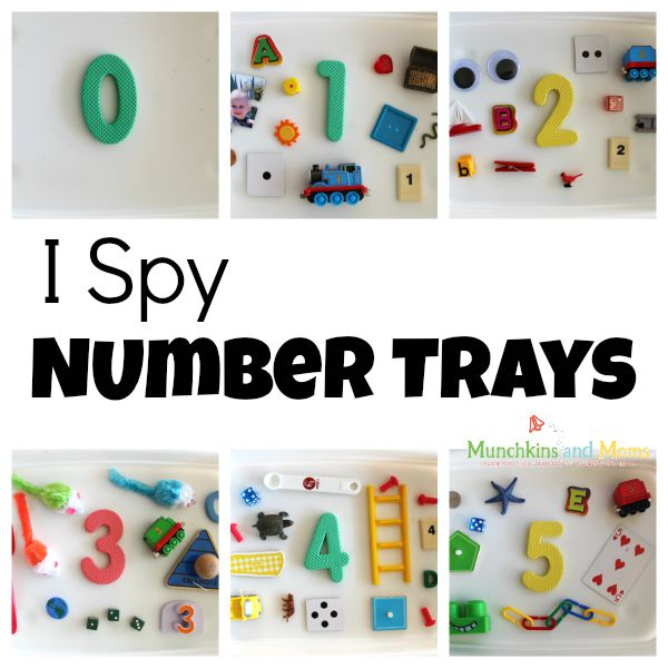I Spy Number trays- a preschool math activity