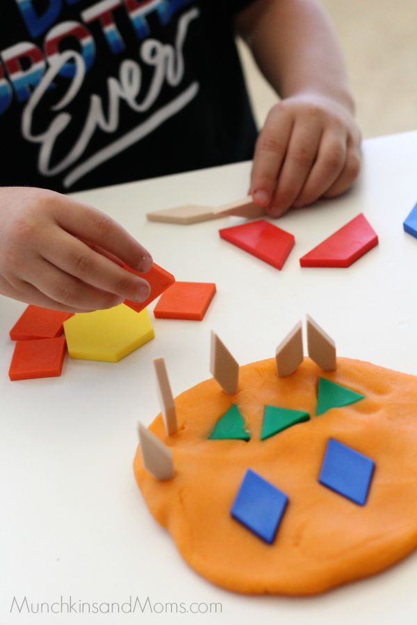 Play dough and pattern blocks- a great Halloween Activity for preschoolers!