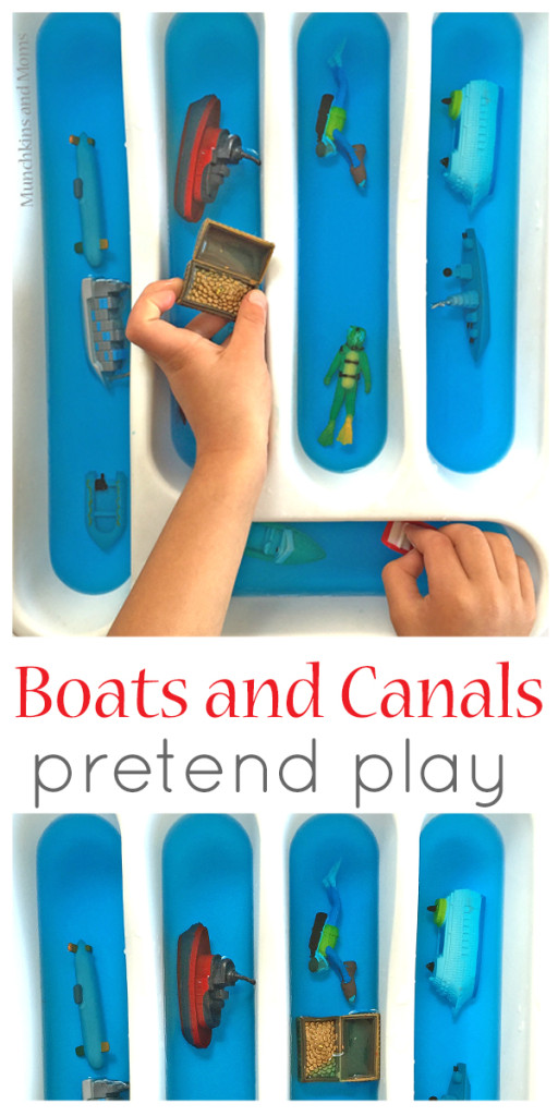 Simple invitation to play with boats and canals