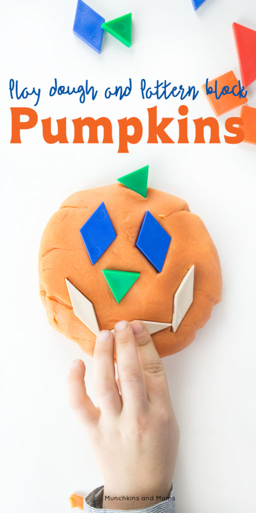 Make jack-o-lanterns with play dough and pattern blocks!