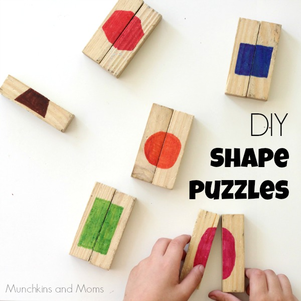 DIY Shape Puzzles- Upcycle blocks to make these simple puzzles for preschoolers!