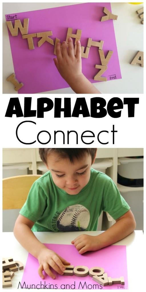Alphabet Connect- a simple activity for preschoolers!