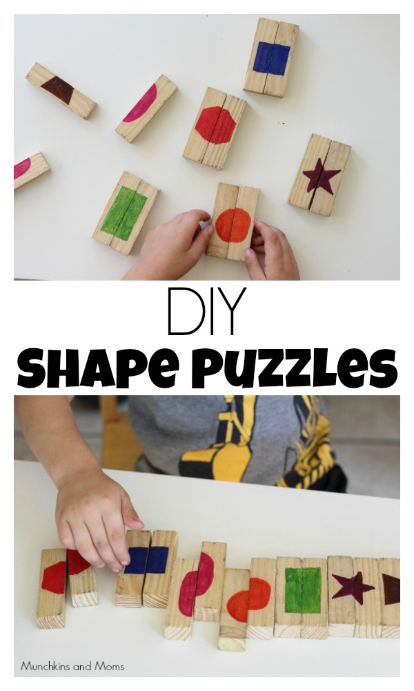 Make your own shape puzzles for toddlers and preschoolers!