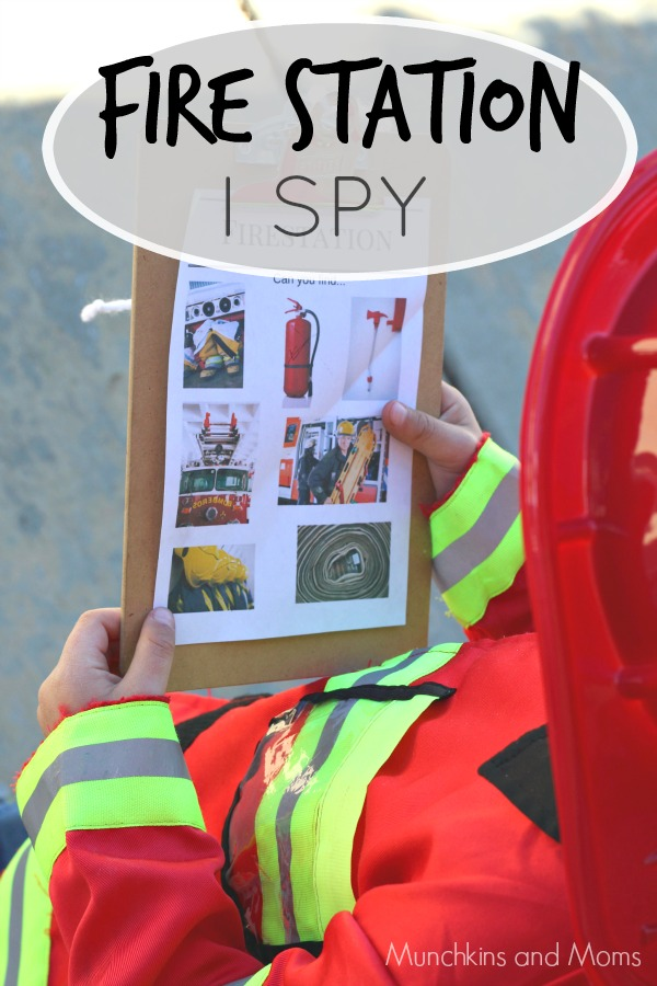 Fire Sation I SPY- a free printable for preschoolers. Perfect for community helpers theme and fire safety week!