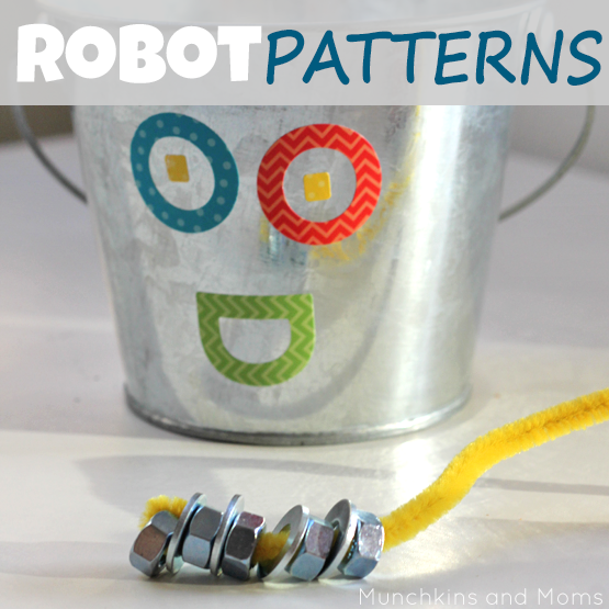 "Making patterns using ""robot parts"",What a fun robot theme preschool activity! Perfect for math and fine motor development."