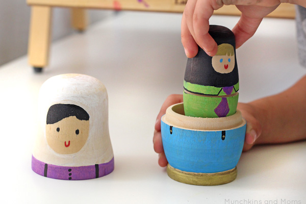 DIY Matryoshka Dolls (Russian nesting dolls). I like the modern and playful look of these ones!