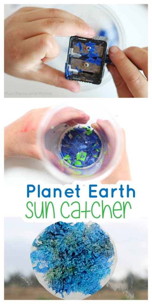 Make this super simple planet Earth Sun Catcher with preschoolers! use it during a unit on the solar system, space, or for Earth Day.