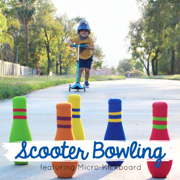Scooter bowling- what a fun activity to do with kids!