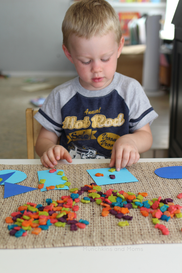 Fish in a Pond preschool math activity- we use this for counting, estimating, and shape recognition. Love that it uses simple dyed pasta fish as the manipulative!