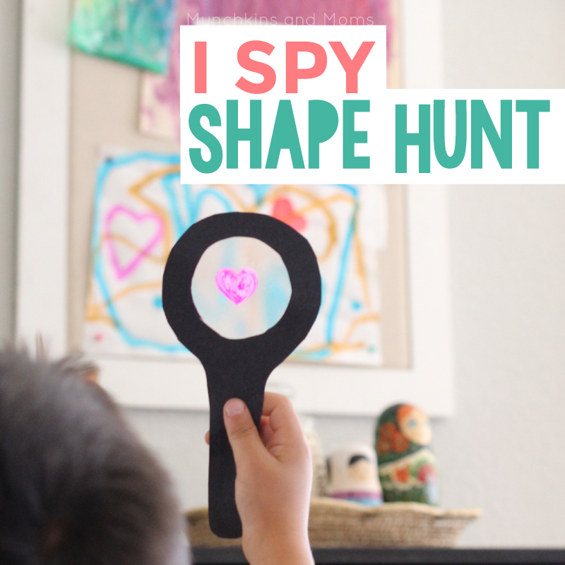 Take preschoolers on a shape hunt using these fun DIY I Spy magnifying glasses!
