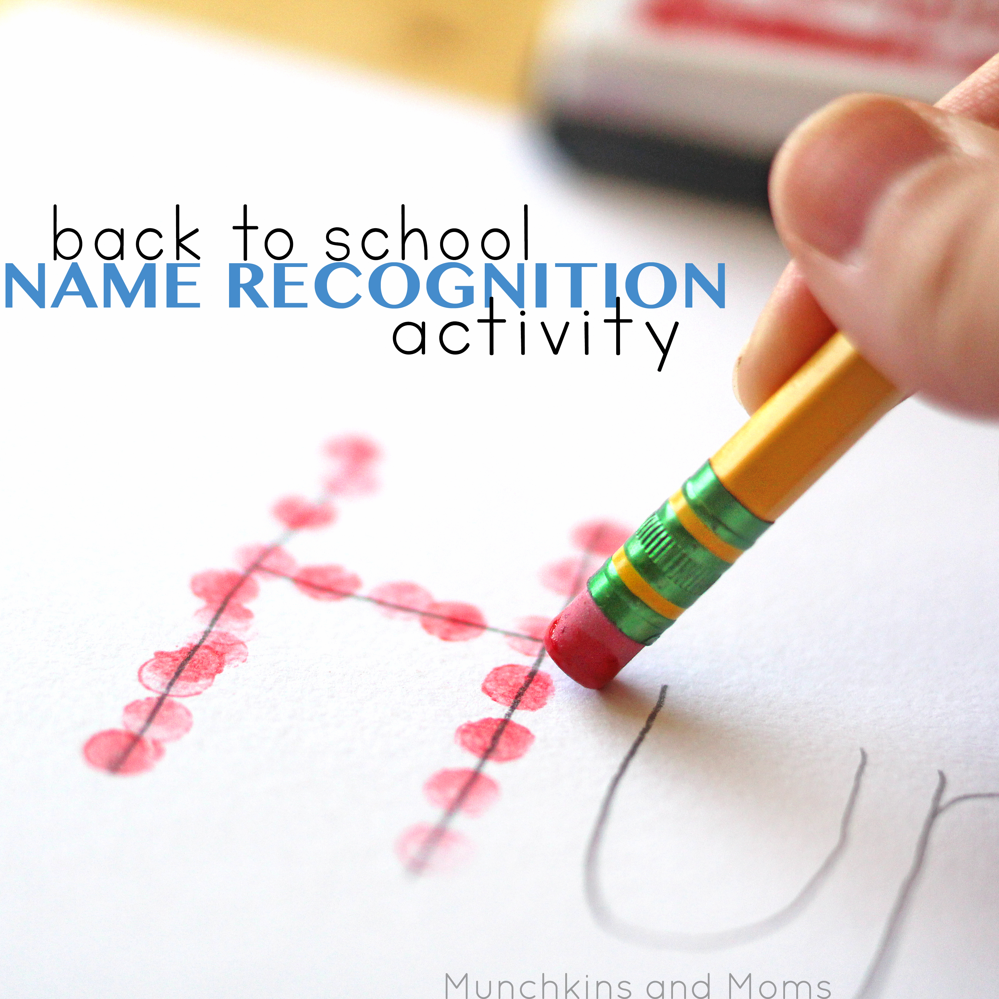 Back to School Name Recognition Activity   Preschool art and fine motor project