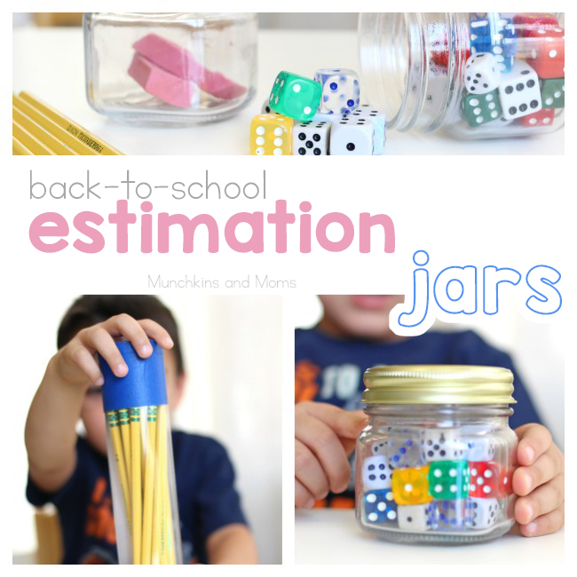 Use school supplies to create these back-to-school estimation jars!