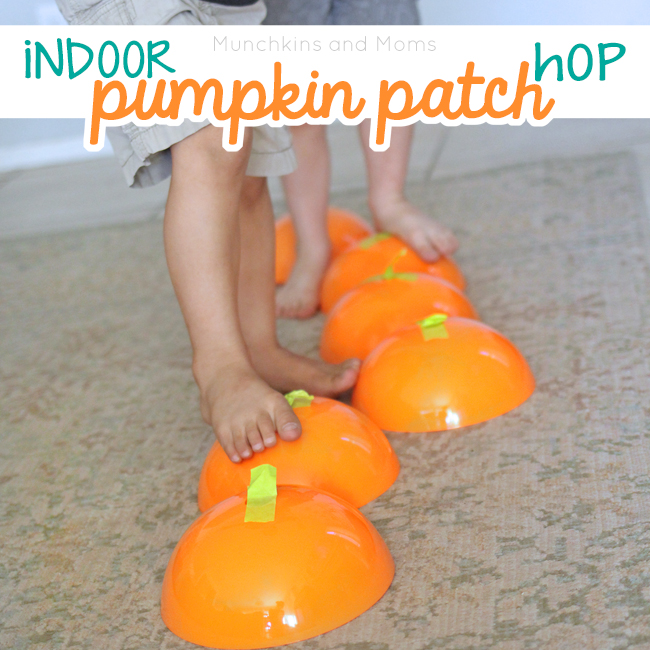 Bring your preschoolers and toddlers inside for this fun pumpkin patch hopping activity!
