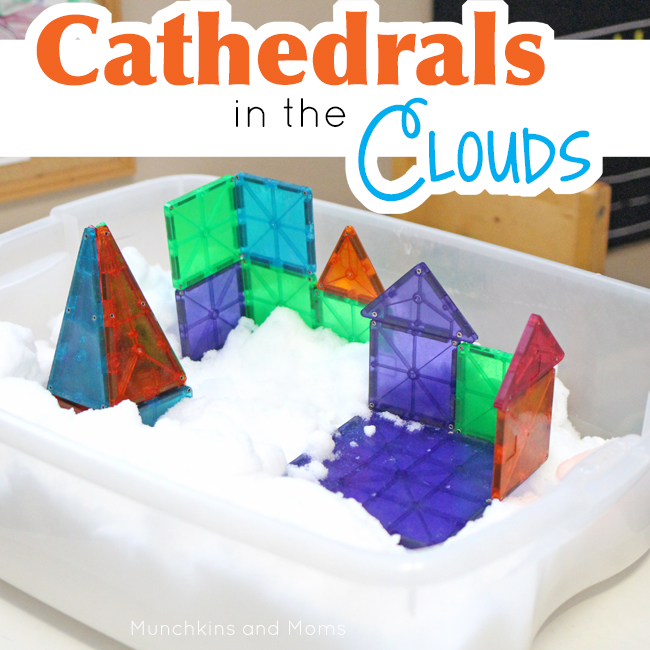 "Use magnetic tiles (like Magna Tiles or Picasso Tiles) to build ""in the clouds""! What a creative invitation to build!"