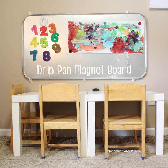 Magnetic drip pan hack! Great idea for a playroom or homeschool room!