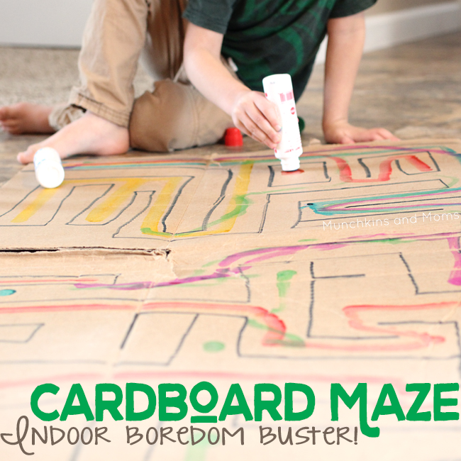 Make a giant maze from a cardboard box! This is a great boredom buster for kids who are stuck indoors!