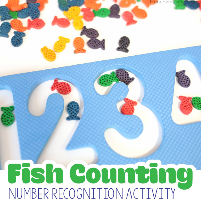 Fish counting and number recognition activity. Saving this idea for Read Across America/ Dr. Seuss' birthday (One Fish, Two Fish Red Fish Blue Fish activity)