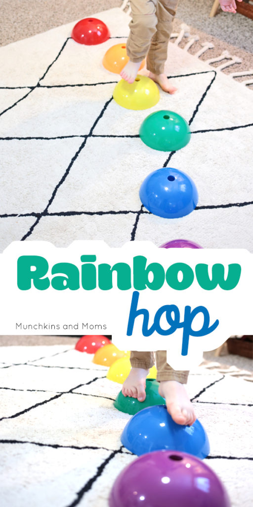 Make a gross motor rainbow game for preschoolers
